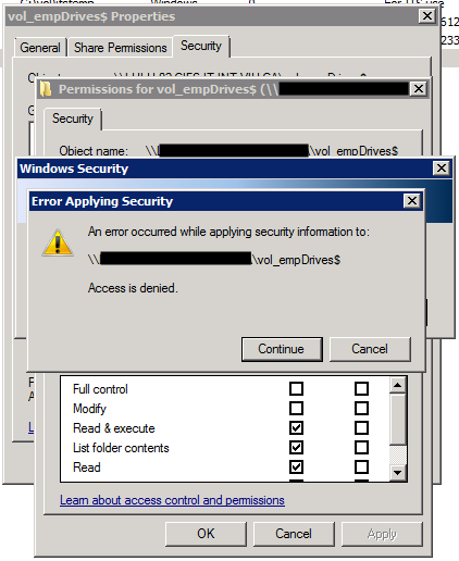 Access denied when changing NTFS permissions on a NetApp CIFS share