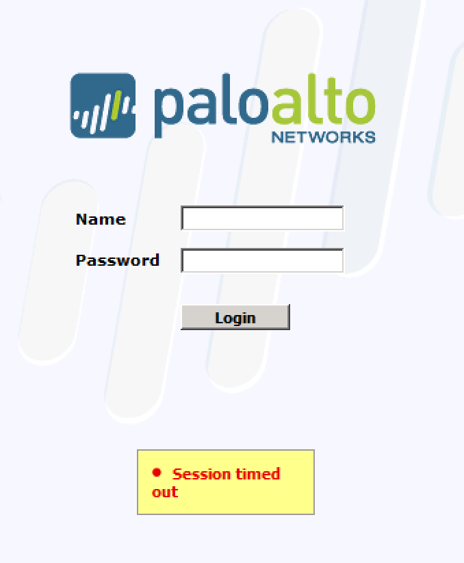 "Palo Alto firewall displays ""Session timed out"" when you try to"