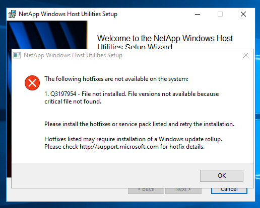 How to remove the NetApp Host Utilities hotfix check | The
